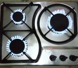 3 burners stainless top table cooker